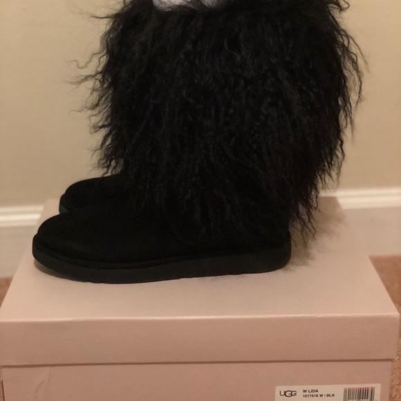 Size 8. Ugg Lida Black Fur boots
